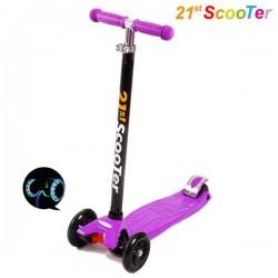 Самокат 21st Scooter Maxi Flash Фиолетовый со светящимися колёсами