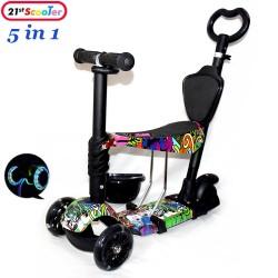 Самокат беговел Scooter 5 в 1 Print Hip-Hop с сиденьем, светящимися колёсами и родительской ручкой