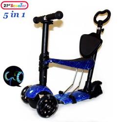 Самокат беговел Scooter 5 в 1 Print Галактика с сиденьем, светящимися колёсами и родительской ручкой