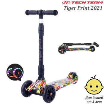 Самокат Tech Team Tiger Print 2021 Жёлтый со светящимися колёсами