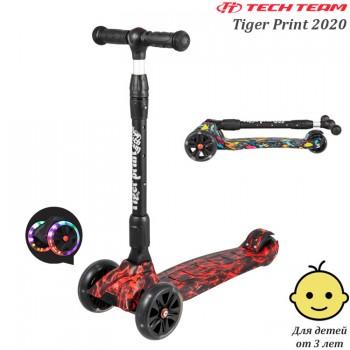 Самокат Tech Team Tiger Print 2020 Красный со светящимися колёсами