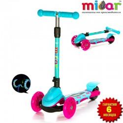 Детский самокат Scooter Mini Micar Zumba Розово-голубой со светящимися колёсами