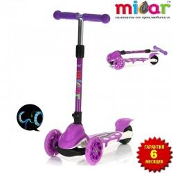 Детский самокат Scooter Mini Micar Zumba Фиолетовый со светящимися колёсами