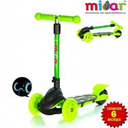Детский самокат Scooter Mini Micar Zumba Чёрно-зелёный со светящимися колёсами