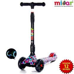 Детский самокат Scooter Maxi Micar Ultra Mosaic со складной ручкой и светящимися колёсами