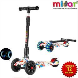 Детский самокат Scooter Maxi Micar Ultra Граффити со складной ручкой и светящимися колёсами