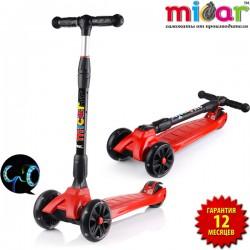 Детский самокат Scooter Maxi Micar Ultra Красный со складной ручкой и светящимися колёсами